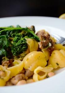 close up rapini pasta