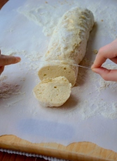Use floss to cut through the dough