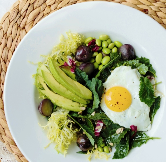 gluten-free and dariy-free kale salad with egg