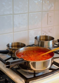 Simmer your favorite sauce. I recommend a veal/beef tomato one.