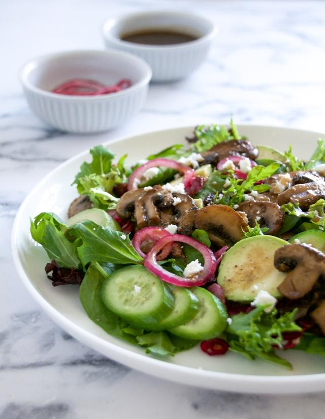 warm mushroom salad milkandmarigolds.com